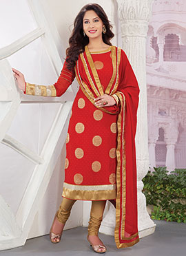 Viscose Red Straight Suit