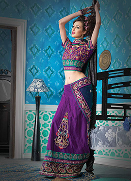 Vivid Violet Net Lehenga Saree