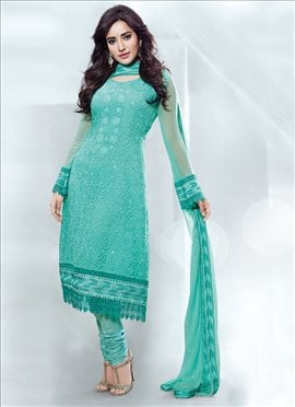 Voguish Neha Sharma Turquoise Churidar Suit