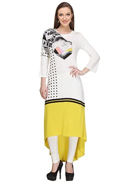 W Off White N Yellow Asymmetrical Kurti