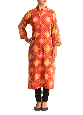Wabi Sabi Deep Red Cotton Kurti