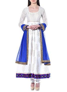 White Art Dupion Silk Anarkali Suit