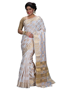 White Art Silk Zari Weave Designed Saree