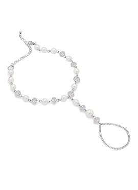 White Beads N Silver Chain Anklet