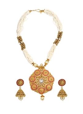 White Beads Necklace Set