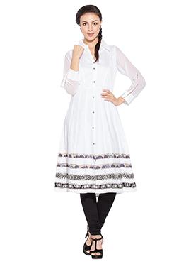 White Cotton Anarkali Suit