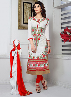 White Cotton Embroidered Churidar Suit