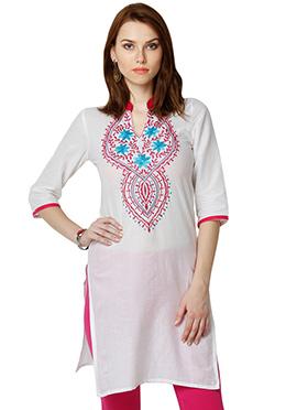 White Cotton Ethnic Kurti from Home India