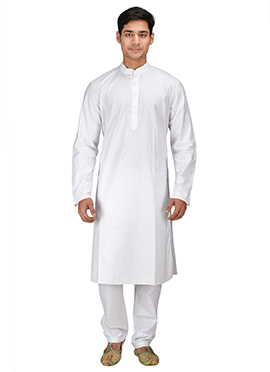 White Cotton Kurta Pyjama