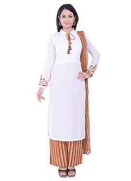 White Cotton Palazzo Suit