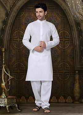 White Cotton Striped Kurta Pyjama