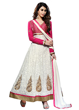 White Embroidered Ankle Length Anarkali Suit
