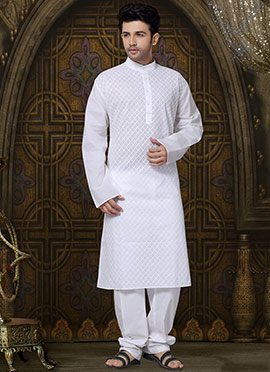White Embroidered Cotton Kurta Pyjama