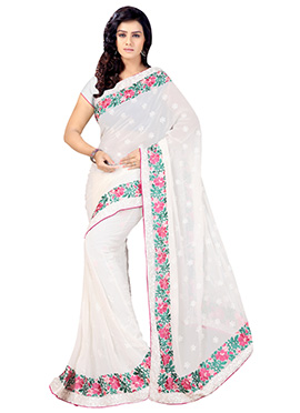 White Embroidered Saree