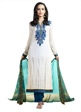 White Embroidered Straight Pant Suit