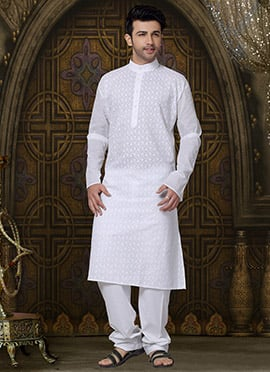 White Foliage Designed Cotton Kurta Pyjama