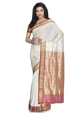 White Kanjivaram Art Silk Saree