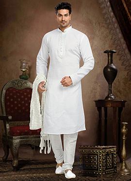 White Linen Cotton Kurta Pyjama