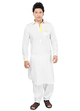 White Linen Pathani Set