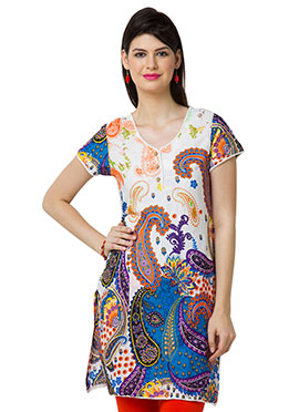 White N Blue Cotton Casual Kurti from Home India