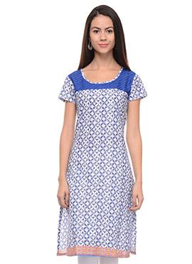 White N Blue Cotton Kurti