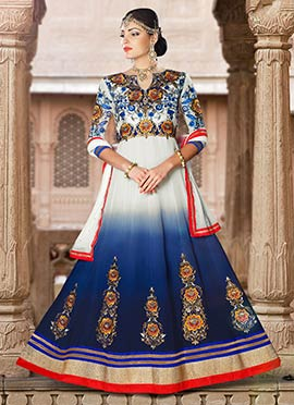 White N Blue Embroidered Anarkali Suit