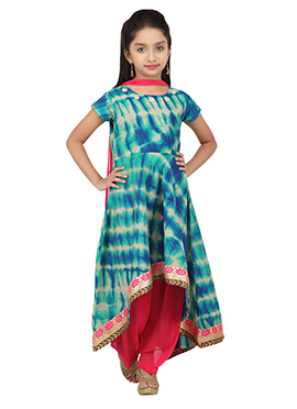 White N Blue Shade Salwar Suit By K And U