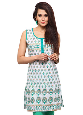 White N Green Cotton Casual Kurti from Home India