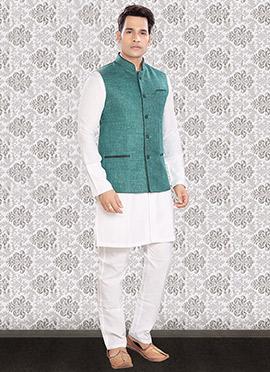 White N Green Linen Bandi Set