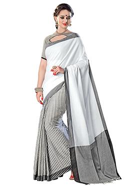 White N Grey Cotton Silk Half N Half Saree