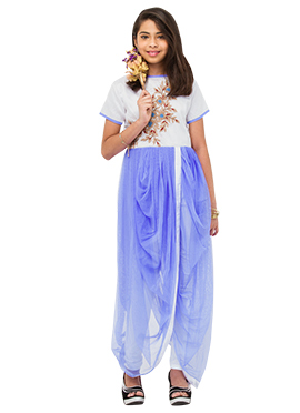 White N Light Violet Teenage Indowestern Suit