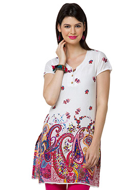 White N Magenta Cotton Casual Kurti from Home Indi