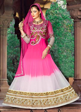 White N Magenta Embroidered Anarkali Suit
