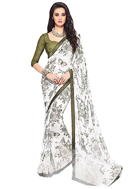 White N Moss Green Printed Saree