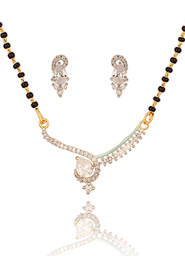 White N Moss Green Stone Studded Magalsutra