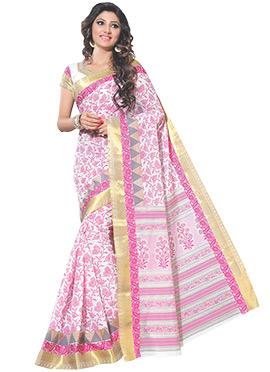 White N Pink Cotton Printed Saree