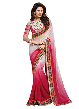 White N Pink Ombre Dyed Border Saree