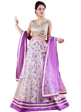 White N Purple Net A Line Lehenga Choli