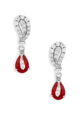 White N Red Stone Studded Drops