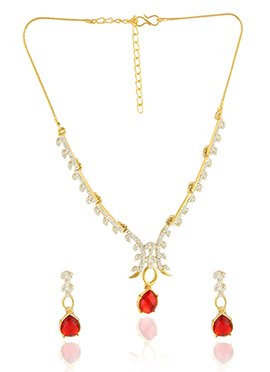 White N Red Stone Studded Necklace Set