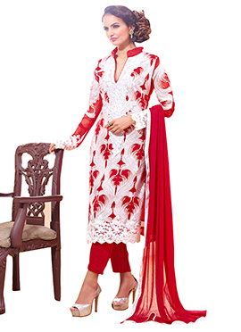 White N Red Straight Pant Suit