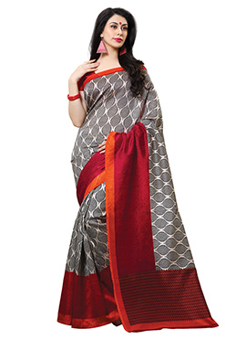 White N Red Tussar Silk Printed Saree
