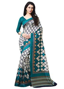 White N Teal Tussar Silk Printed Saree