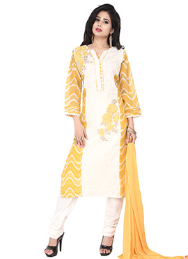 White N Yellow Cotton Churidar Suit