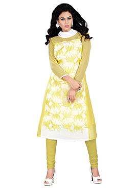 White N Yellow Embroidered Kurti