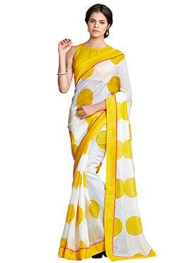 White N Yellow Linen Saree