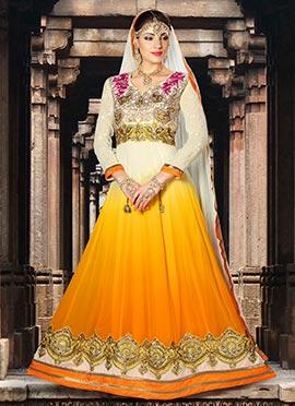 White N Yellowish Ochre Anarkali Suit
