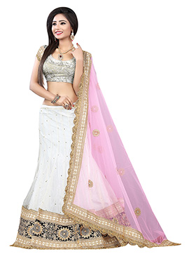 Off-White Net A Line Lehenga Choli