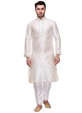 White Plain Textured Kurta Pyjama