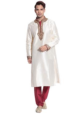 White Satin Kurta Pyjama